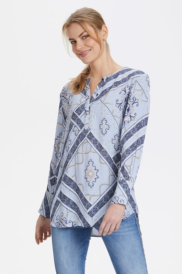 Blå langærmet bluse fra Fransa