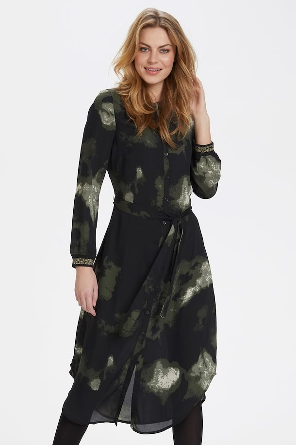 Mørkegrøn/sort skjortekjole fra Bon' A Parte
